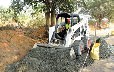 Bobcat skid loaders are the most fuel efficient as the power to weight ratio is best.